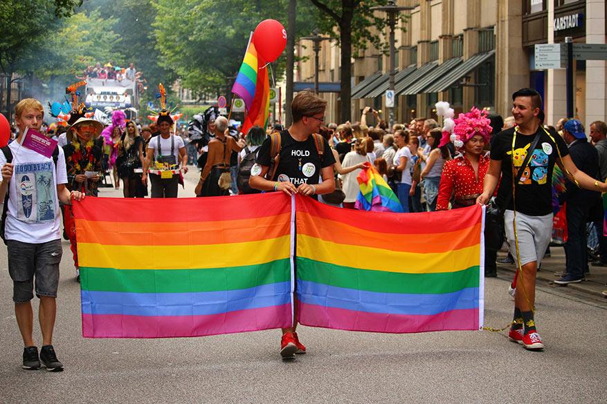 A pride parade in Hamburg, Germany