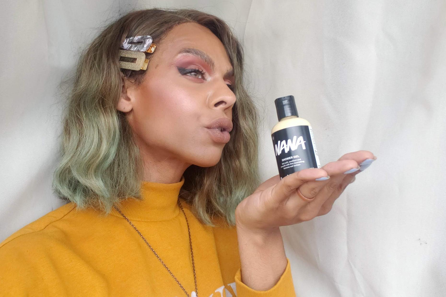 Anasteja holds a bottle of Nana Shower Gel.