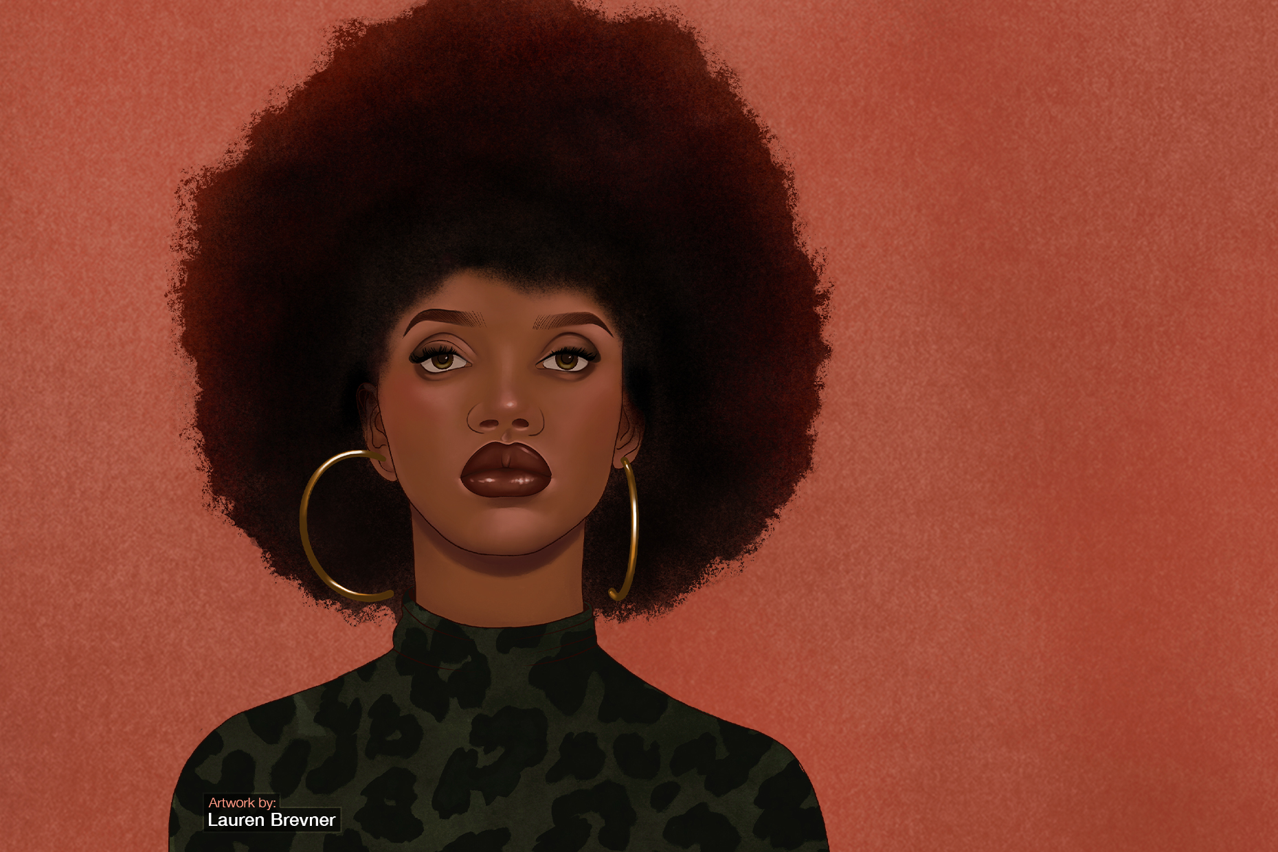 The image shows a digital illustration of a Black woman facing front with an Afro hairstyle.