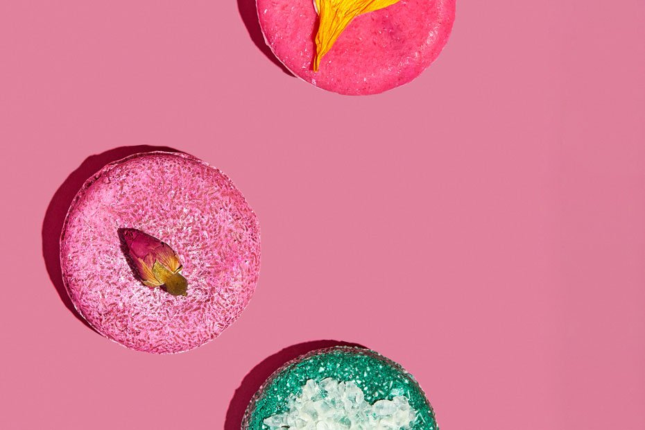 Angel Hair, Coconut Rice Cake and Flyway Hair Shampoo Bars featured over a pink background.