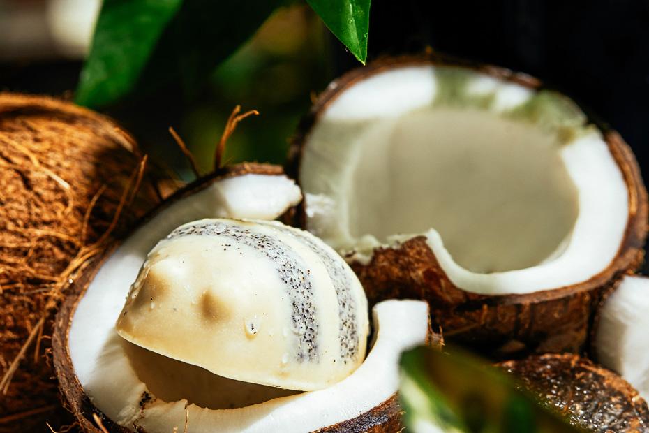 Scrubee, solid bee-like shower scrub, sits nestled inside a fresh coconut.