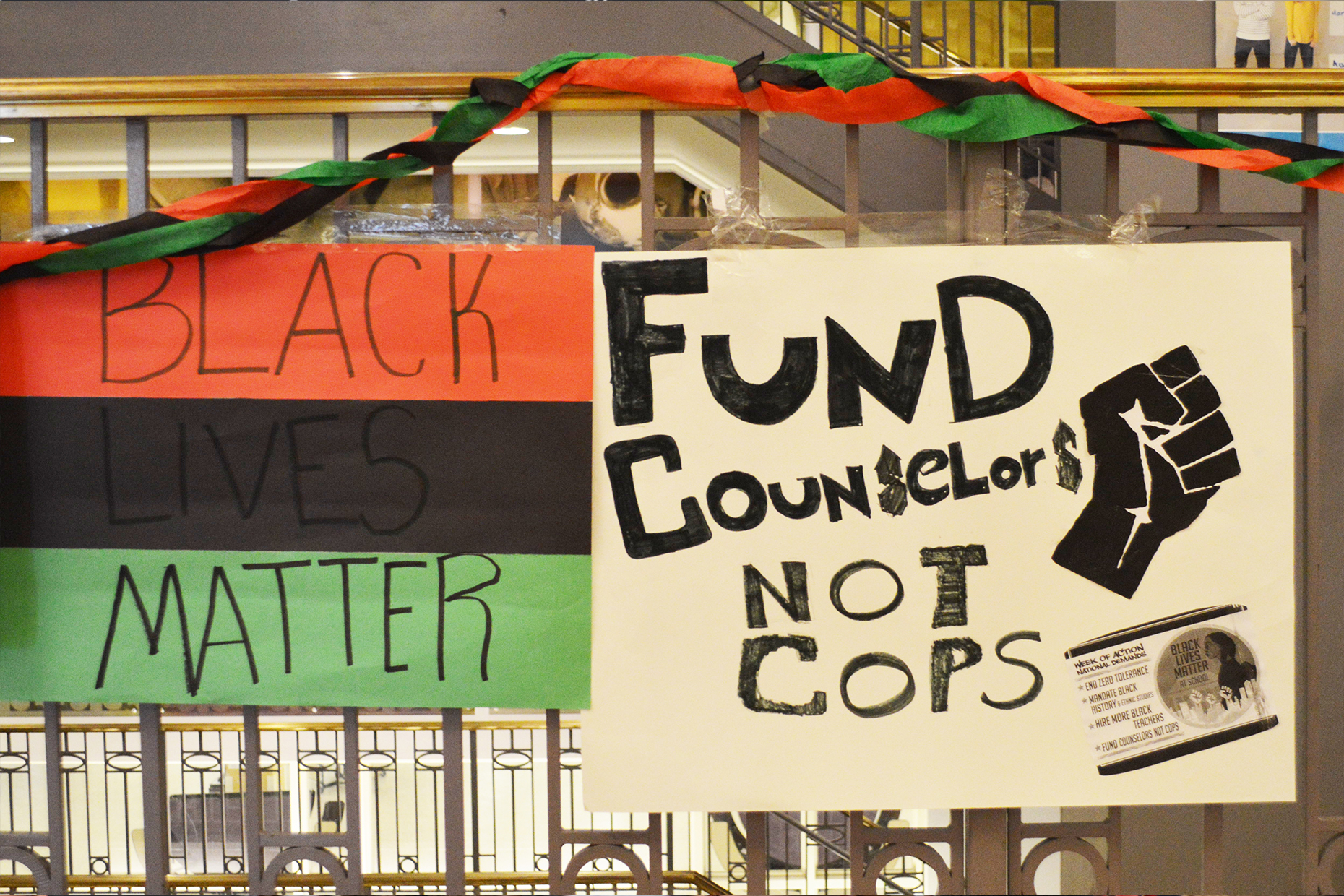 Handmade posters of protest supporting the Black Lives Matter movement.