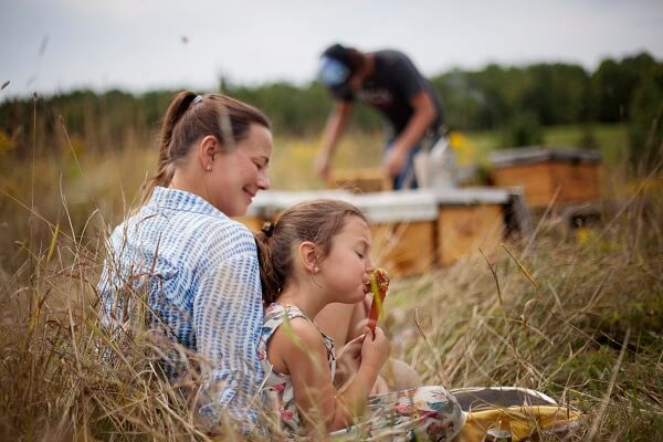 Anicet checks in on a hive and their queen as his wife and co-owner, Anne-Virginie and daughter enjoy honey, July 2014. Photo by Colombine Drouin.=