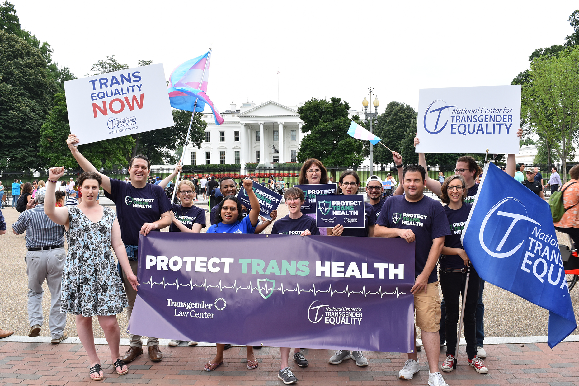 Members of National Center For Transgender Equality protest at President's Park in Washington, D.C.