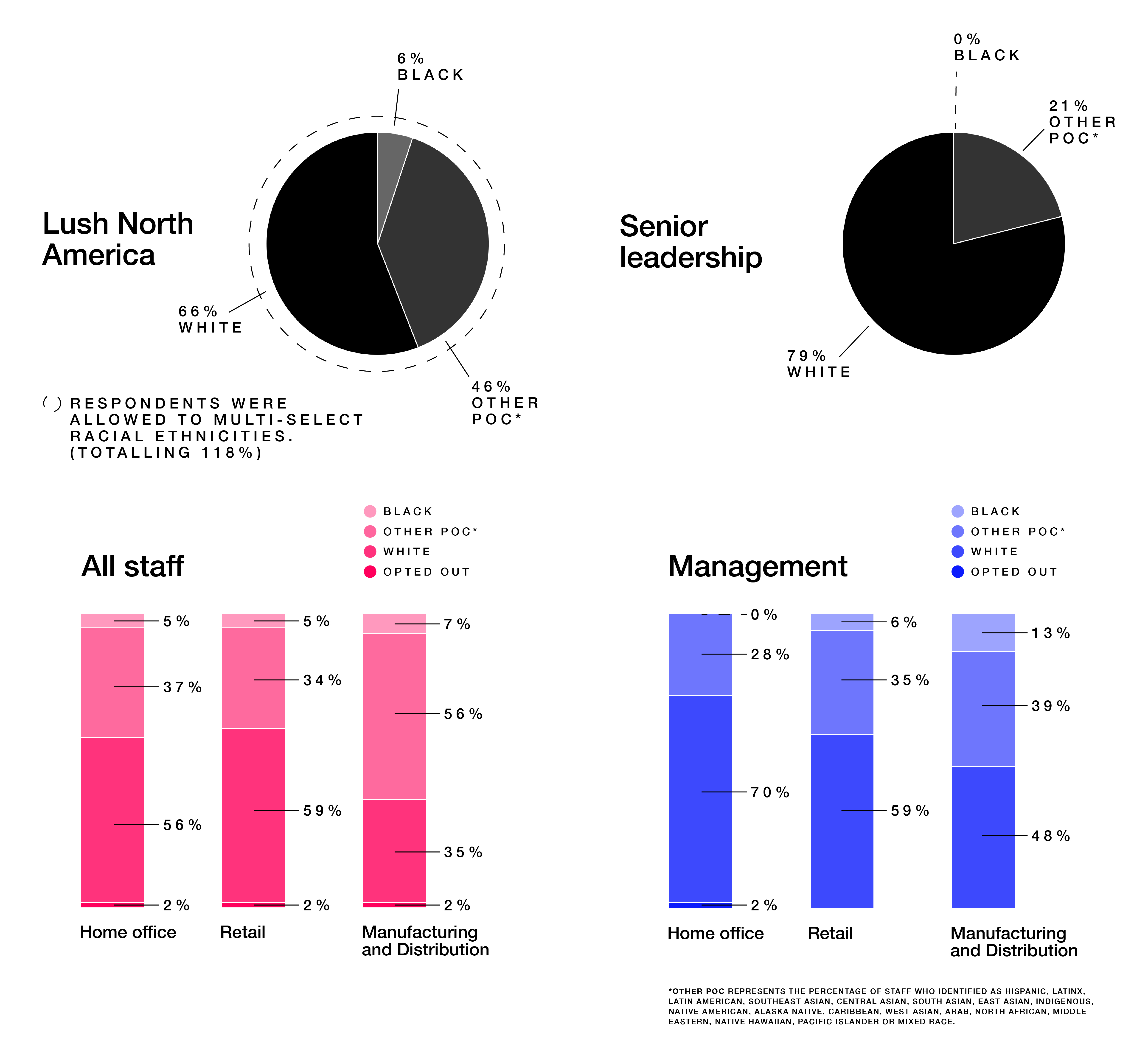 Four statistical charts showing the percentage of racial representation across different areas of the business