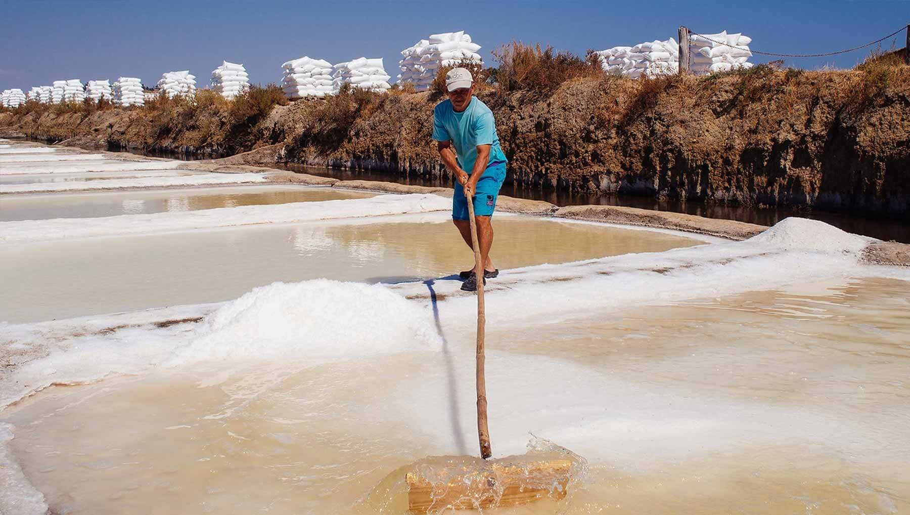 Harvesting salt in Portugal