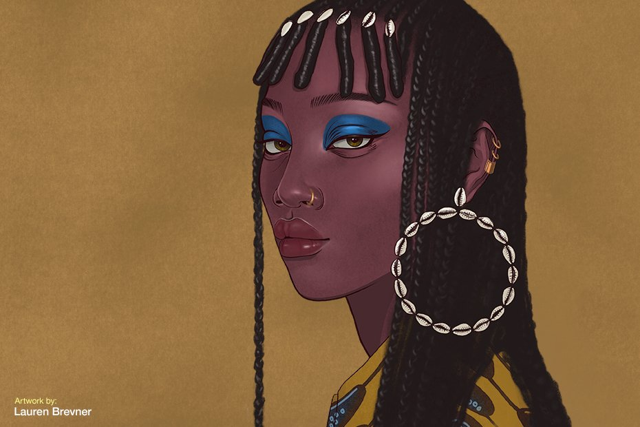 A digital illustration of a Black woman wearing braids and African-inspired accessories.