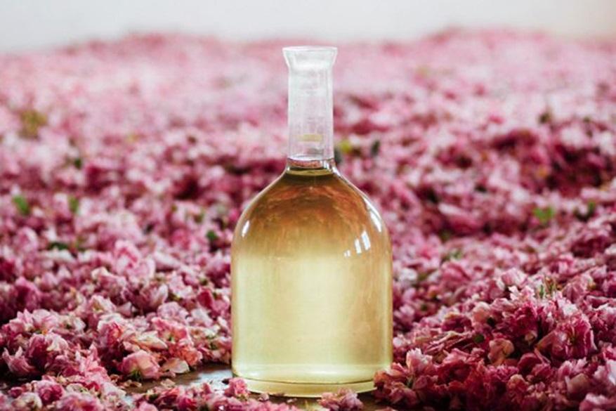 A carafe of rose oil sits amongst rose petals
